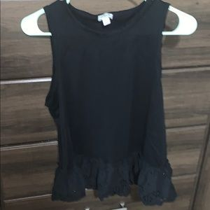 J crew Black lace peplum cotton tank